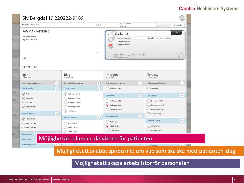 Patientvyn Möjlighet att planera aktiviteter för patienten