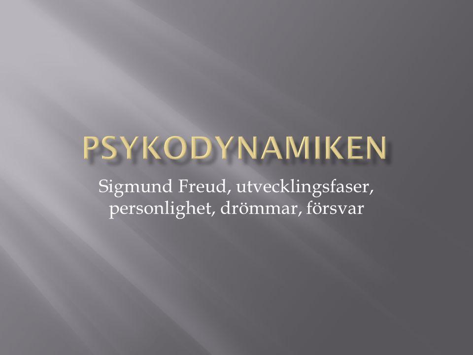 Sigmund Freud, utvecklingsfaser, personlighet, drömmar, försvar