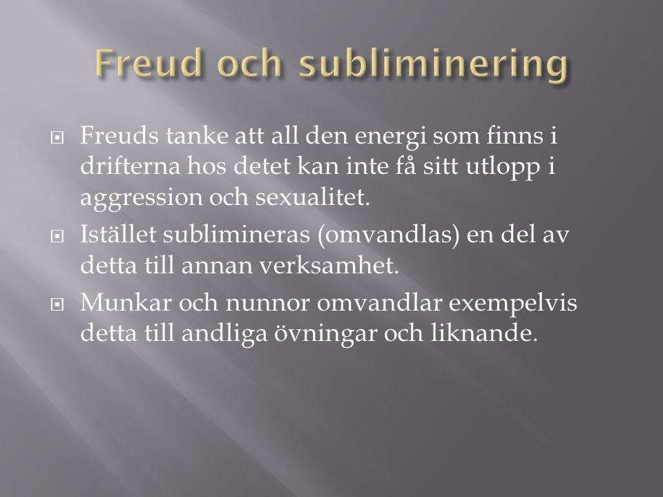 Freud och subliminering