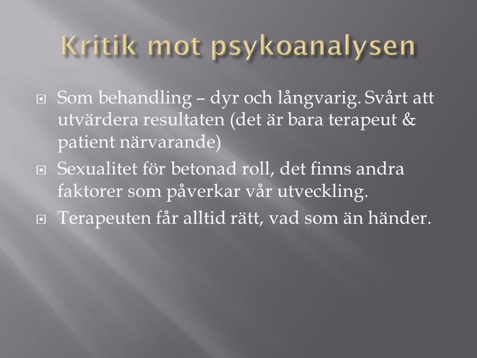 Kritik mot psykoanalysen
