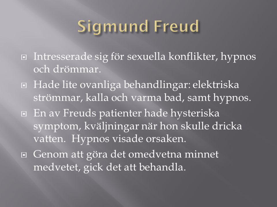 Sigmund Freud Intresserade sig för sexuella konflikter, hypnos och drömmar.