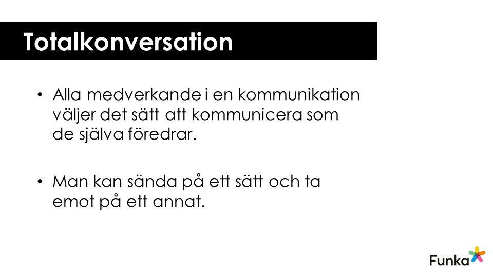 Totalkonversation Alla medverkande i en kommunikation väljer det sätt att kommunicera som de själva föredrar.