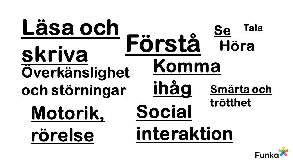 Förstå Läsa och skriva Komma ihåg Social interaktion Motorik, rörelse