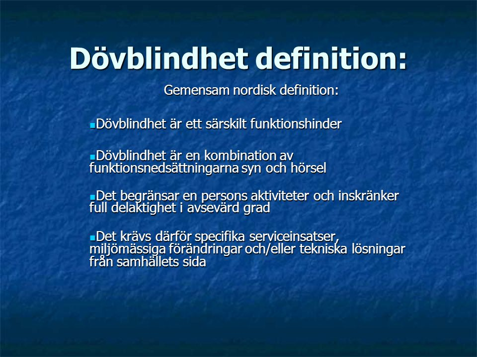 Dövblindhet definition: