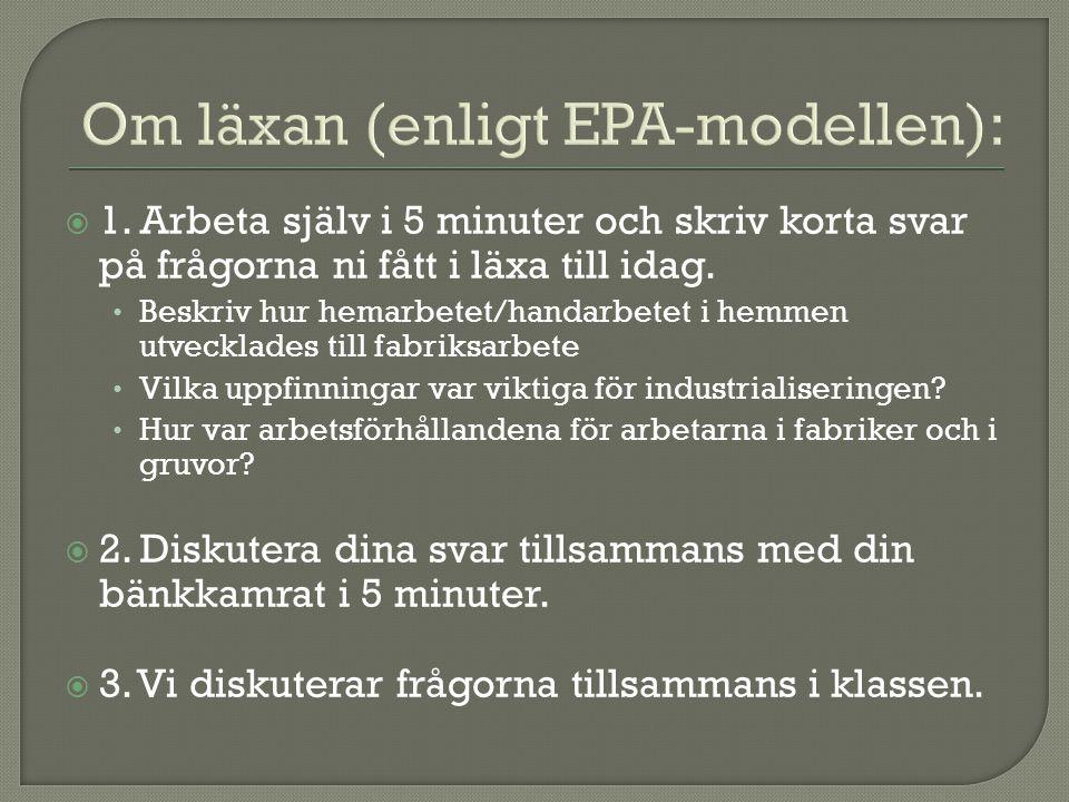Om läxan (enligt EPA-modellen):