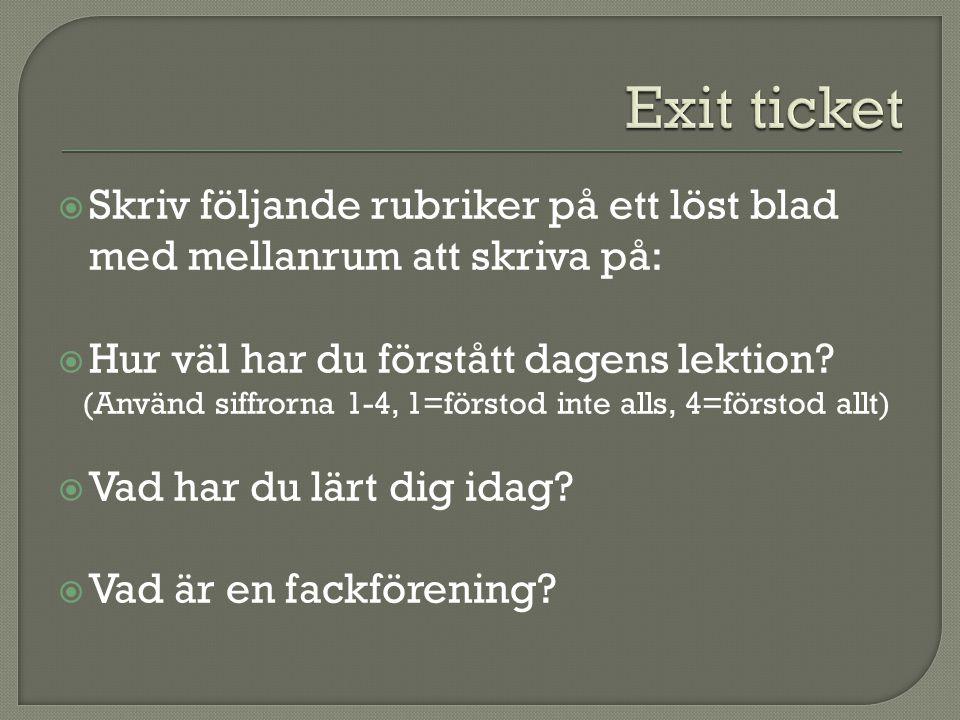 Exit ticket Skriv följande rubriker på ett löst blad med mellanrum att skriva på: Hur väl har du förstått dagens lektion