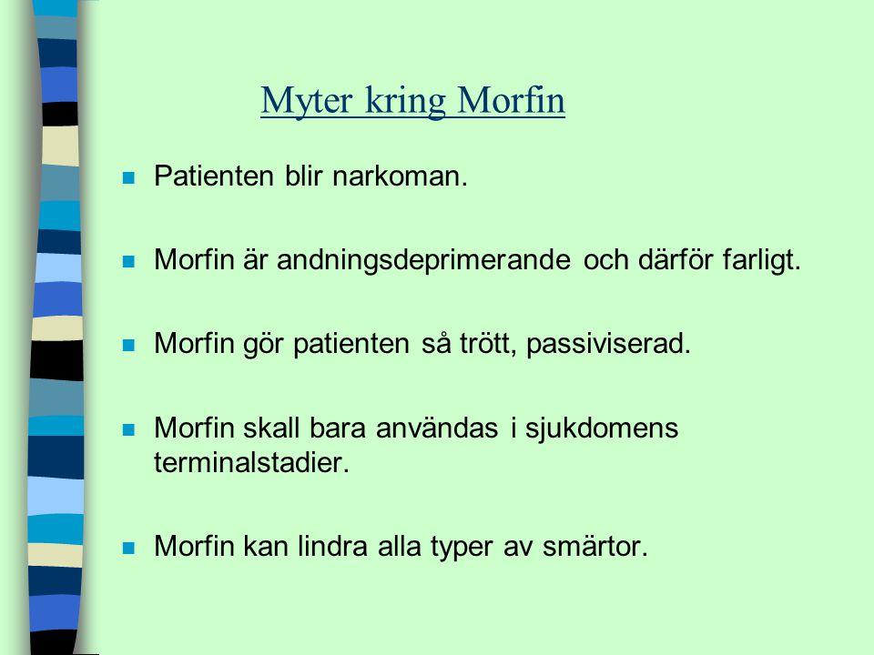 Myter kring Morfin Patienten blir narkoman.