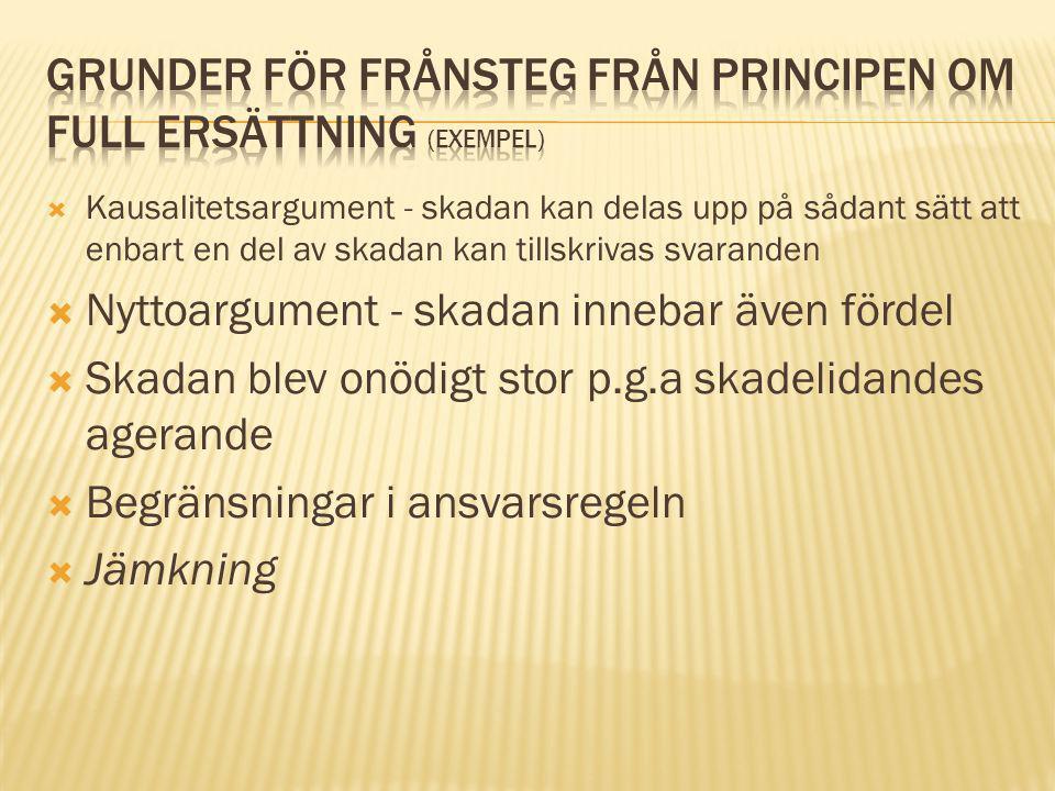 Grunder för frånsteg från principen om full ersättning (exempel)