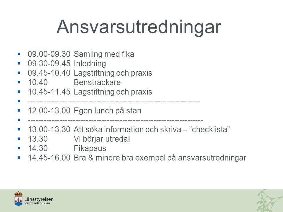 Ansvarsutredningar 09.00-09.30 Samling med fika 09.30-09.45 Inledning