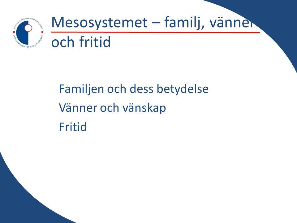 Mesosystemet – familj, vänner och fritid