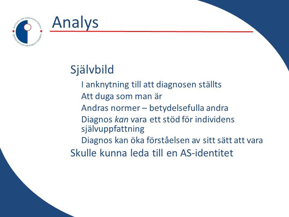 Analys Självbild I anknytning till att diagnosen ställts
