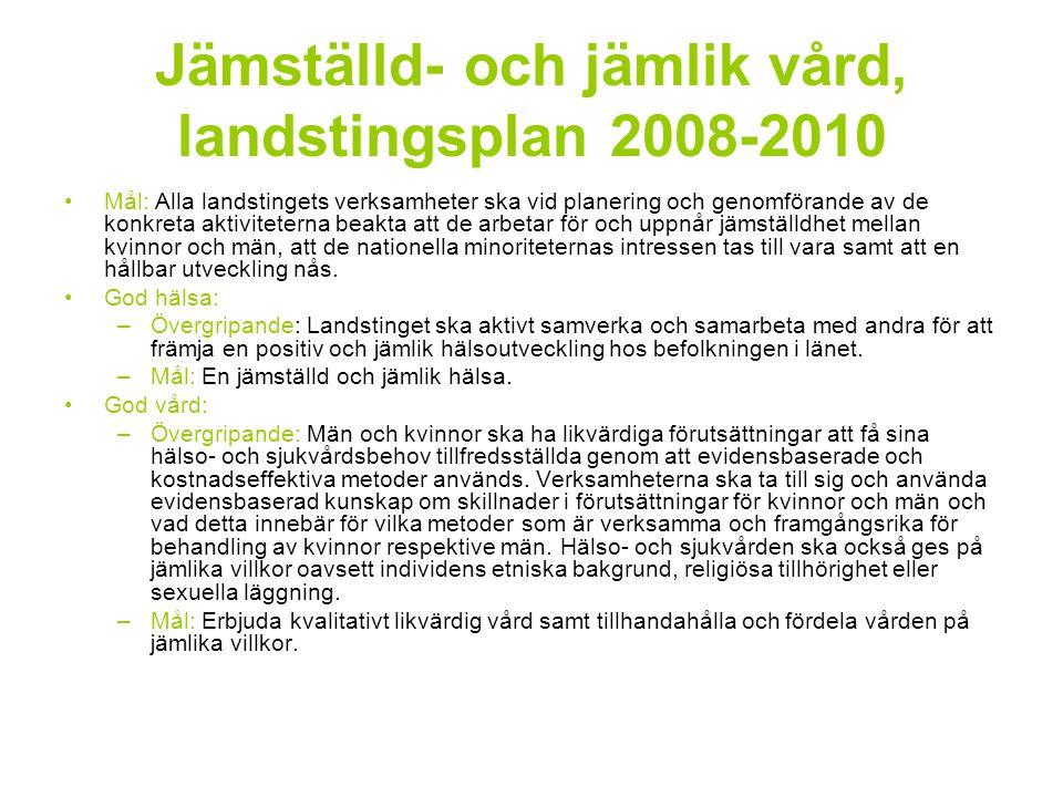 Jämställd- och jämlik vård, landstingsplan 2008-2010