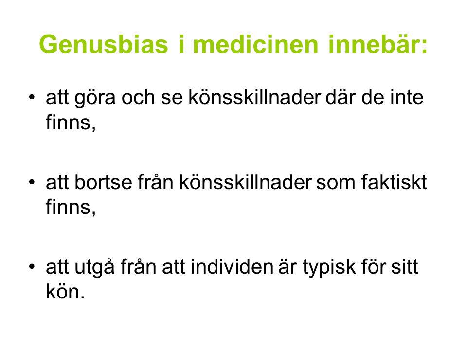 Genusbias i medicinen innebär: