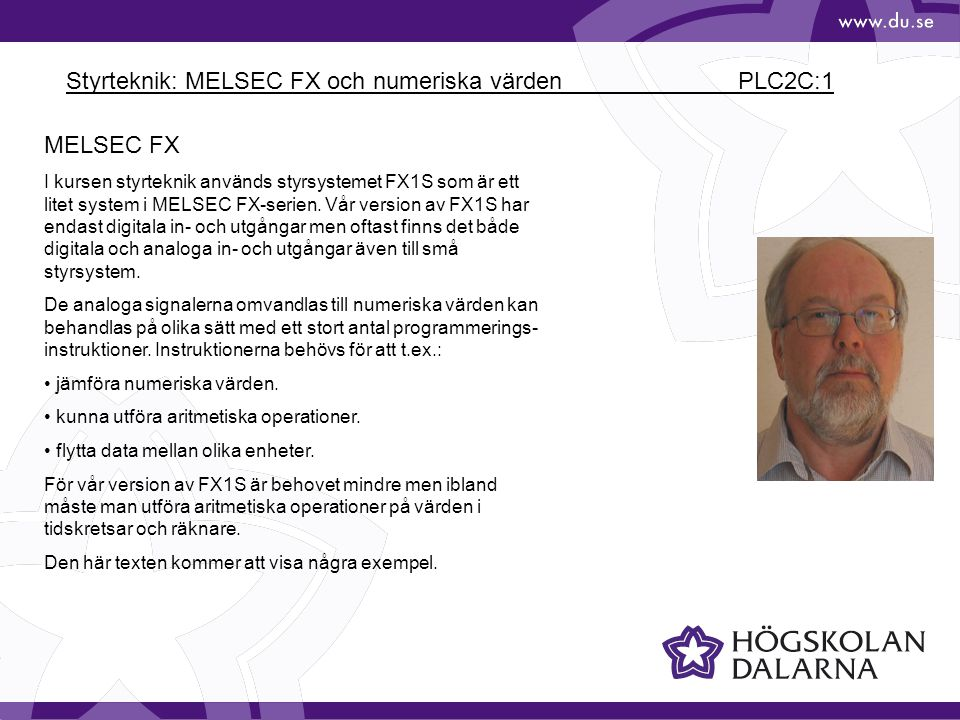 Styrteknik: MELSEC FX och numeriska värden PLC2C:1