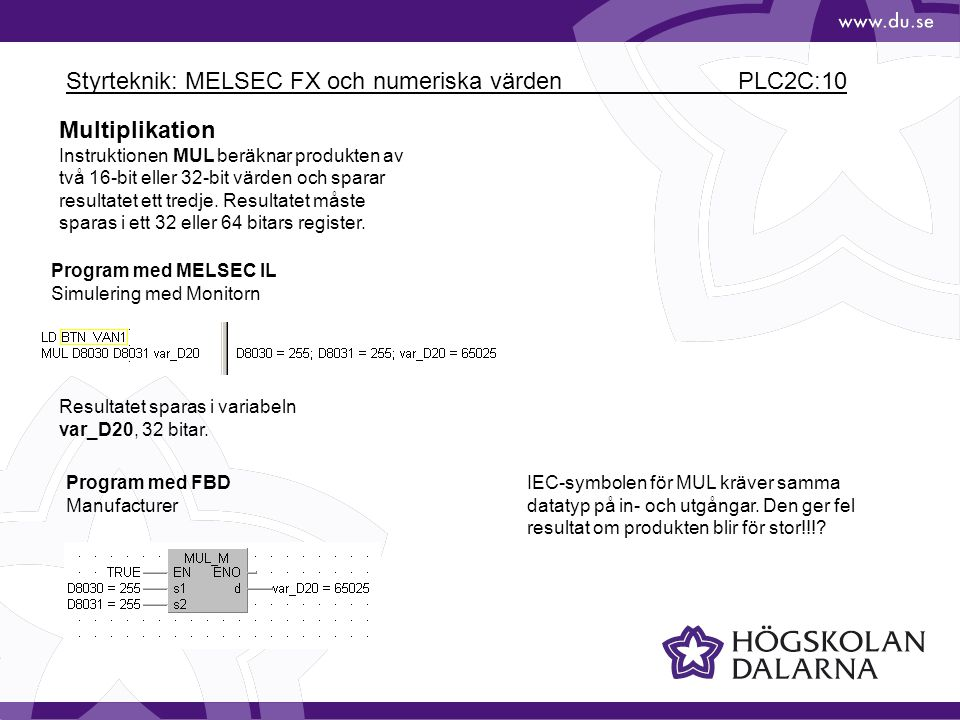 Styrteknik: MELSEC FX och numeriska värden PLC2C:10