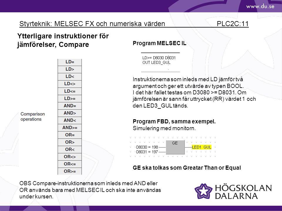 Styrteknik: MELSEC FX och numeriska värden PLC2C:11