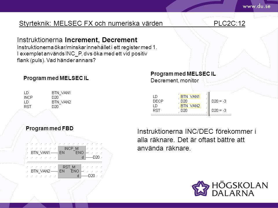 Styrteknik: MELSEC FX och numeriska värden PLC2C:12