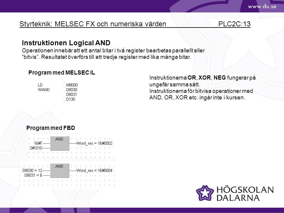 Styrteknik: MELSEC FX och numeriska värden PLC2C:13