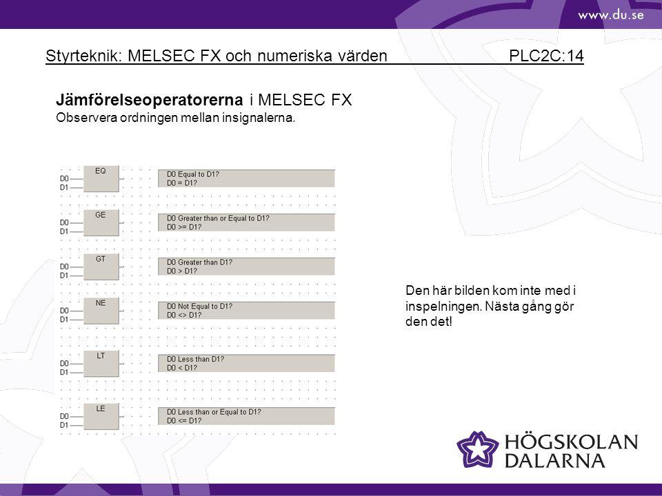 Styrteknik: MELSEC FX och numeriska värden PLC2C:14