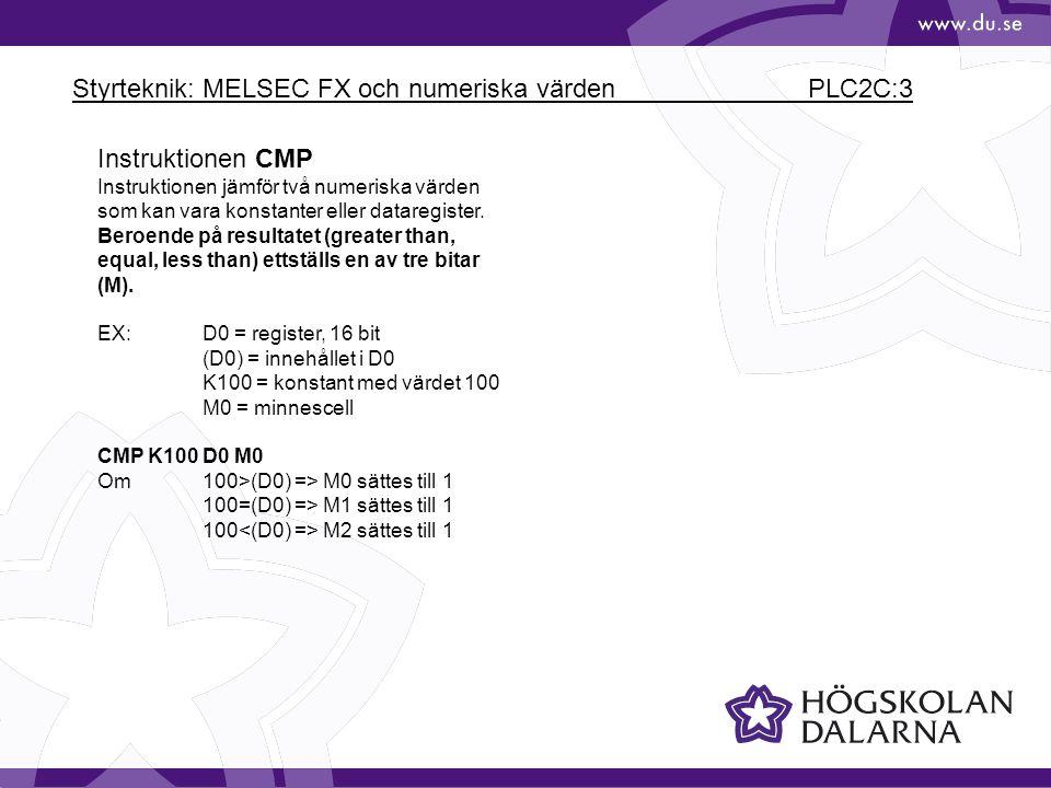 Styrteknik: MELSEC FX och numeriska värden PLC2C:3