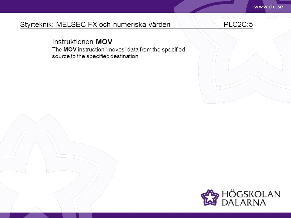 Styrteknik: MELSEC FX och numeriska värden PLC2C:5