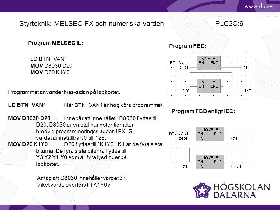Styrteknik: MELSEC FX och numeriska värden PLC2C:6