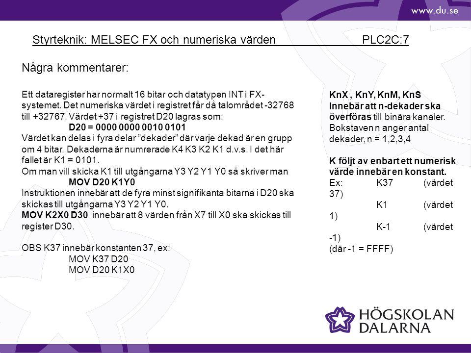 Styrteknik: MELSEC FX och numeriska värden PLC2C:7