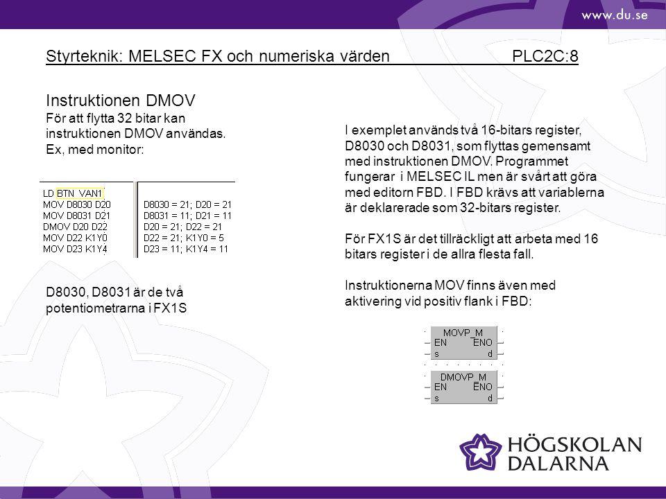 Styrteknik: MELSEC FX och numeriska värden PLC2C:8