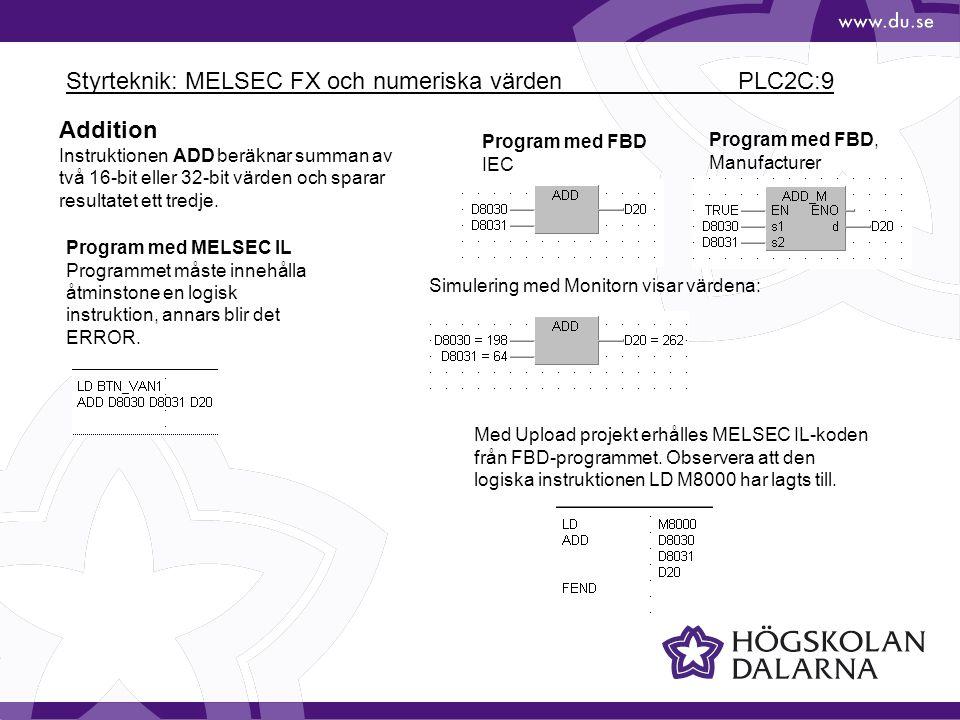 Styrteknik: MELSEC FX och numeriska värden PLC2C:9