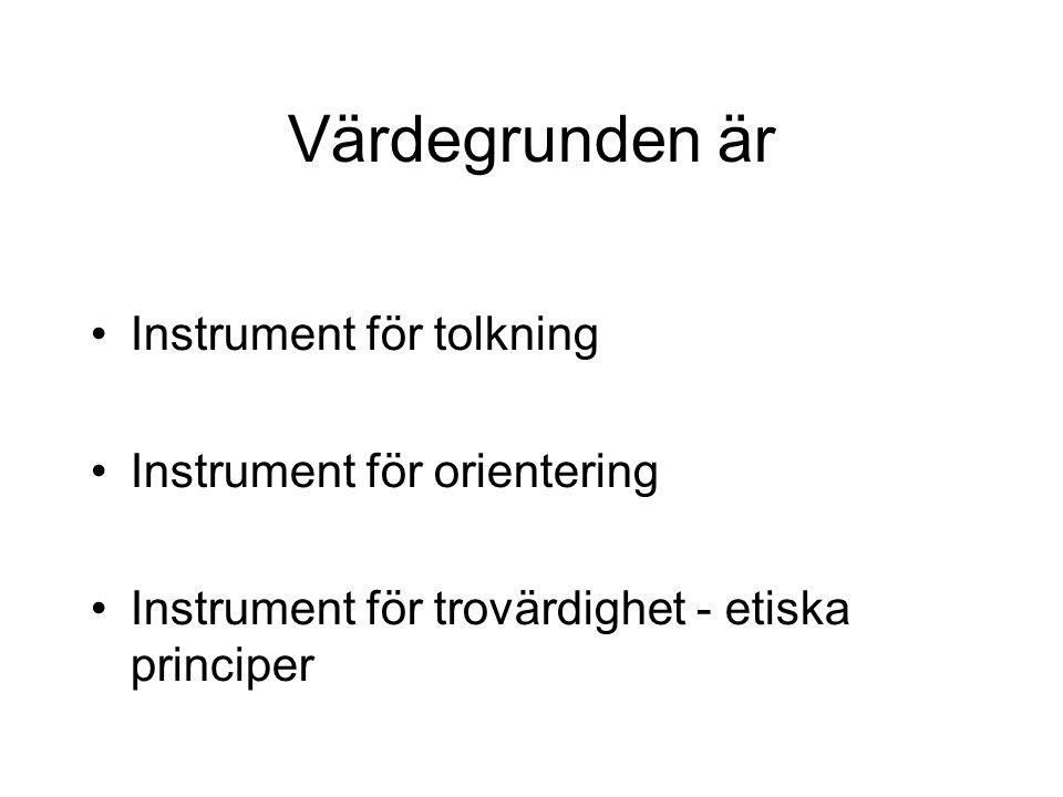 Värdegrunden är Instrument för tolkning Instrument för orientering