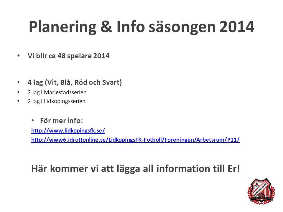 Planering & Info säsongen 2014
