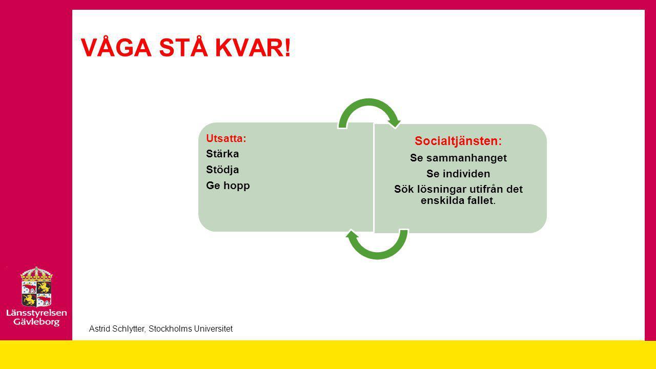 VÅGA STÅ KVAR! Socialtjänsten: Utsatta: Stärka Stödja Se sammanhanget