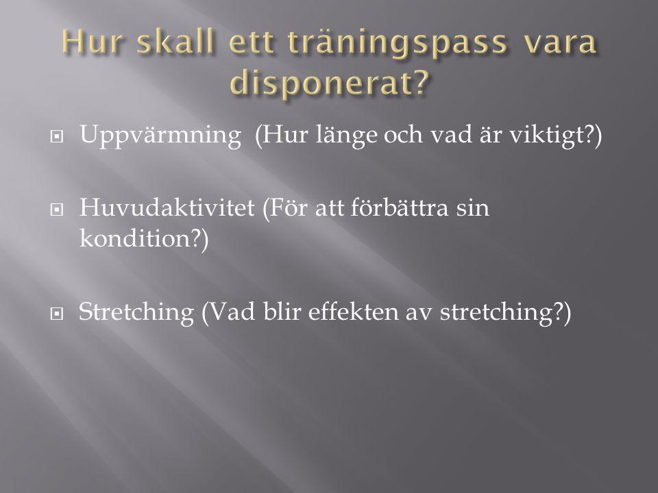 Hur skall ett träningspass vara disponerat