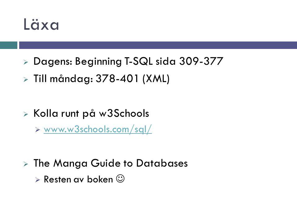 Läxa Dagens: Beginning T-SQL sida 309-377 Till måndag: 378-401 (XML)
