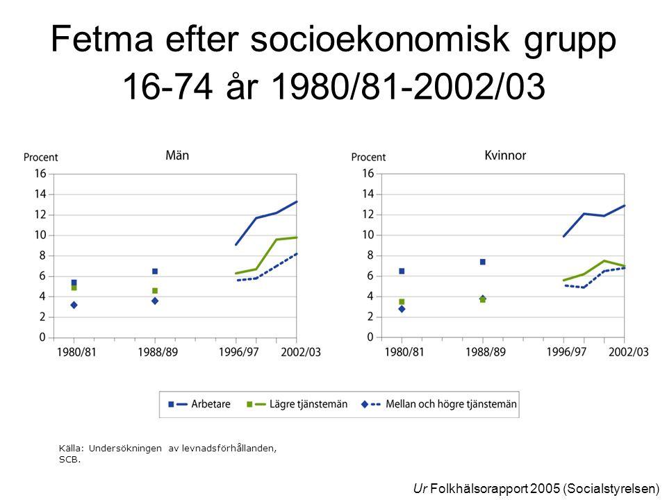 Fetma efter socioekonomisk grupp 16-74 år 1980/81-2002/03