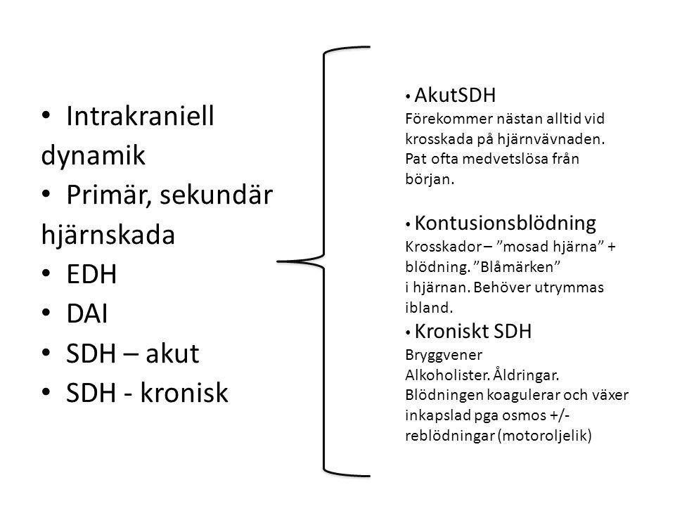 Intrakraniell dynamik Primär, sekundär hjärnskada EDH DAI SDH – akut