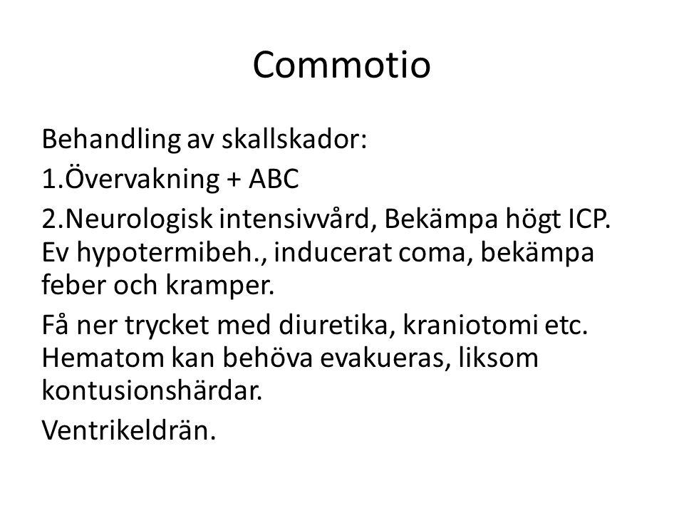 Commotio Behandling av skallskador: Övervakning + ABC