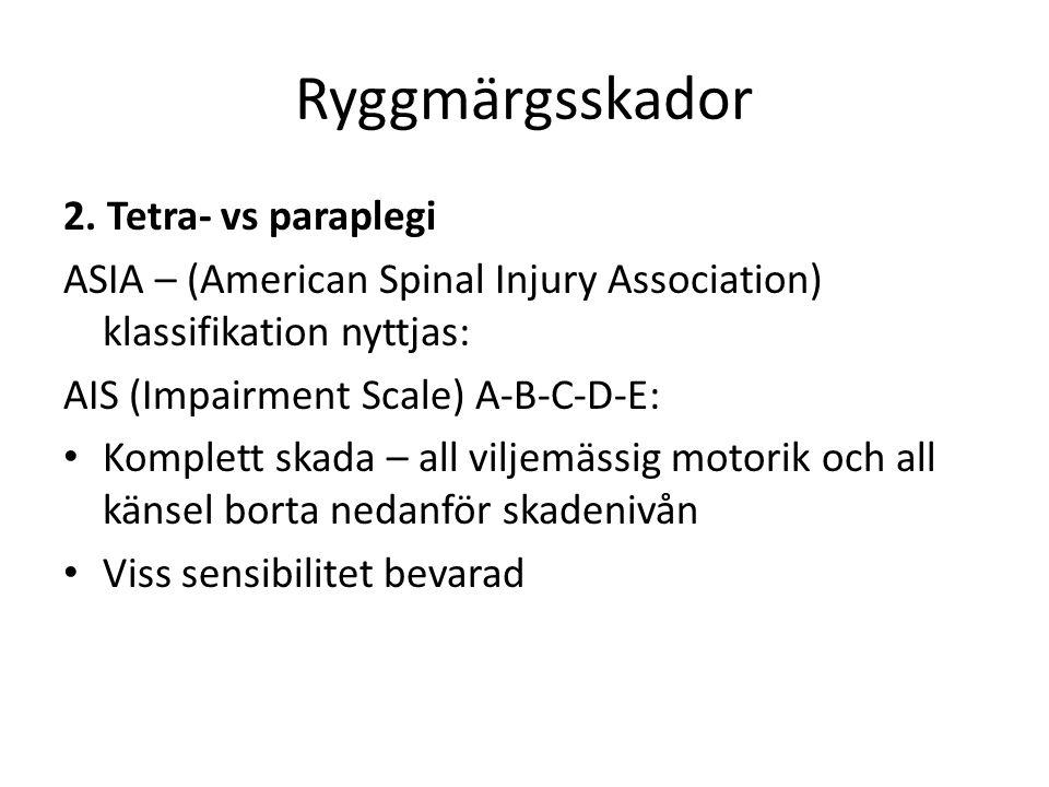 Ryggmärgsskador 2. Tetra- vs paraplegi