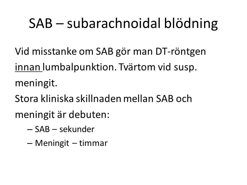 SAB – subarachnoidal blödning