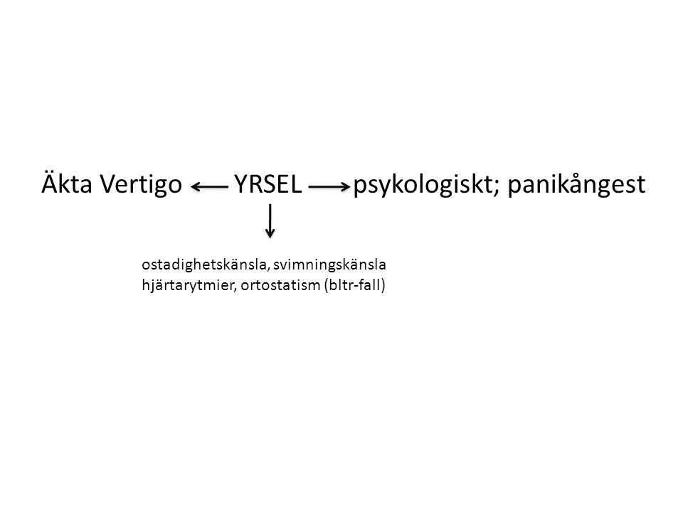 Äkta Vertigo YRSEL psykologiskt; panikångest