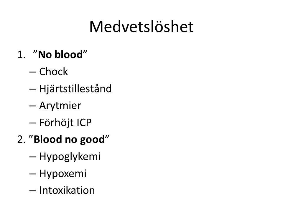 Medvetslöshet No blood Chock Hjärtstillestånd Arytmier Förhöjt ICP