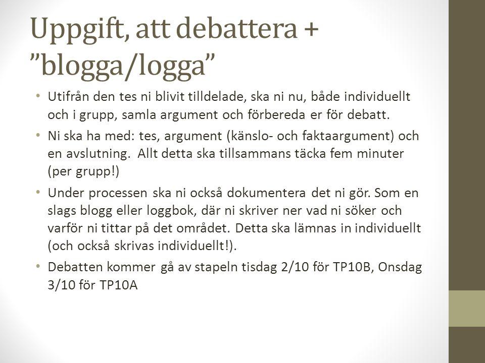 Uppgift, att debattera + blogga/logga