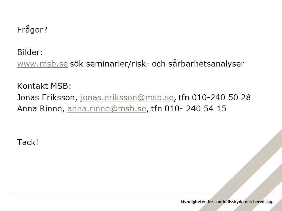 Frågor Bilder: www.msb.se sök seminarier/risk- och sårbarhetsanalyser. Kontakt MSB: Jonas Eriksson, jonas.eriksson@msb.se, tfn 010-240 50 28.