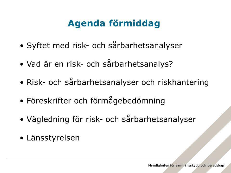 Agenda förmiddag Syftet med risk- och sårbarhetsanalyser