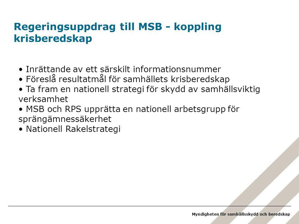 Regeringsuppdrag till MSB - koppling krisberedskap