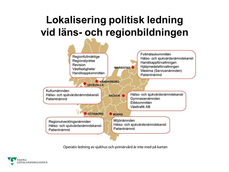 Lokalisering politisk ledning vid läns- och regionbildningen