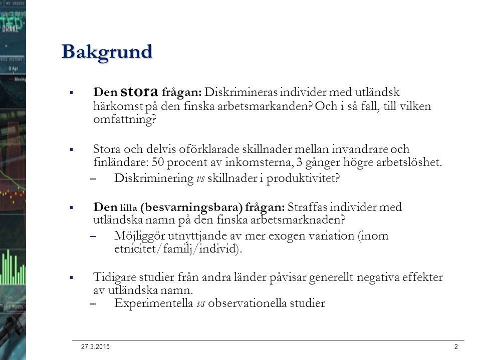Bakgrund Den stora frågan: Diskrimineras individer med utländsk härkomst på den finska arbetsmarkanden Och i så fall, till vilken omfattning