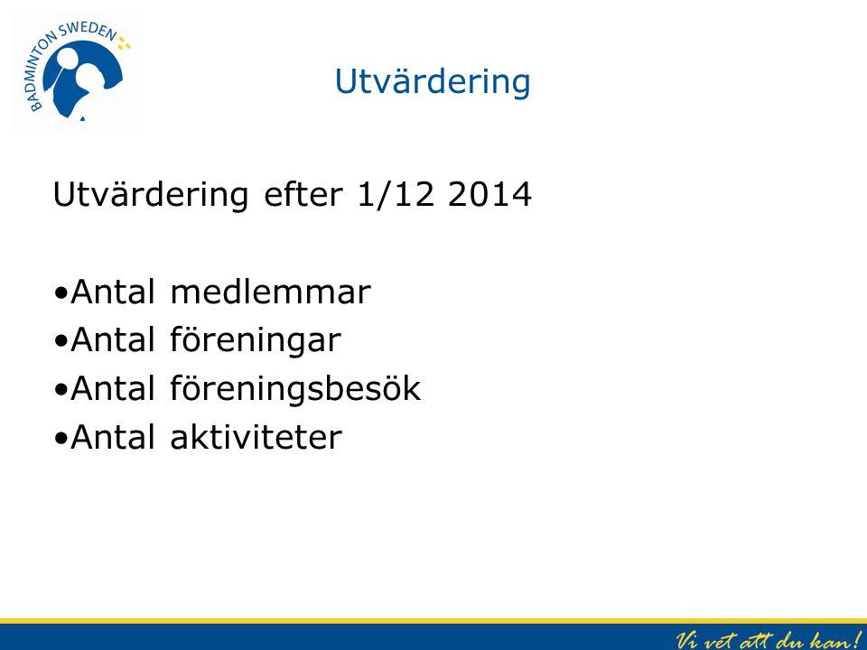 Utvärdering Utvärdering efter 1/12 2014. Antal medlemmar. Antal föreningar. Antal föreningsbesök.