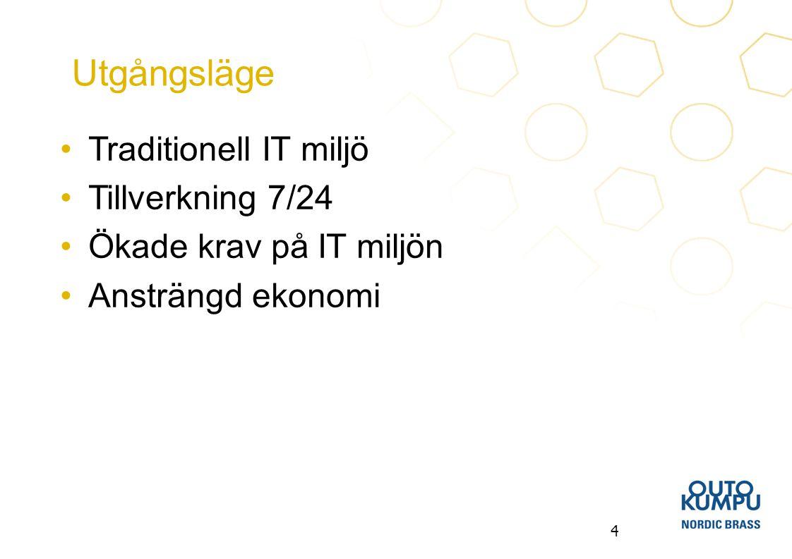 Utgångsläge Traditionell IT miljö Tillverkning 7/24
