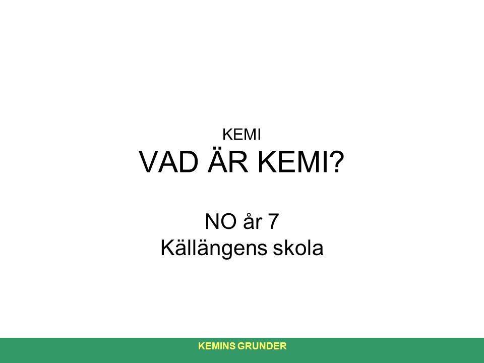 KEMI VAD ÄR KEMI NO år 7 Källängens skola KEMINS GRUNDER 1
